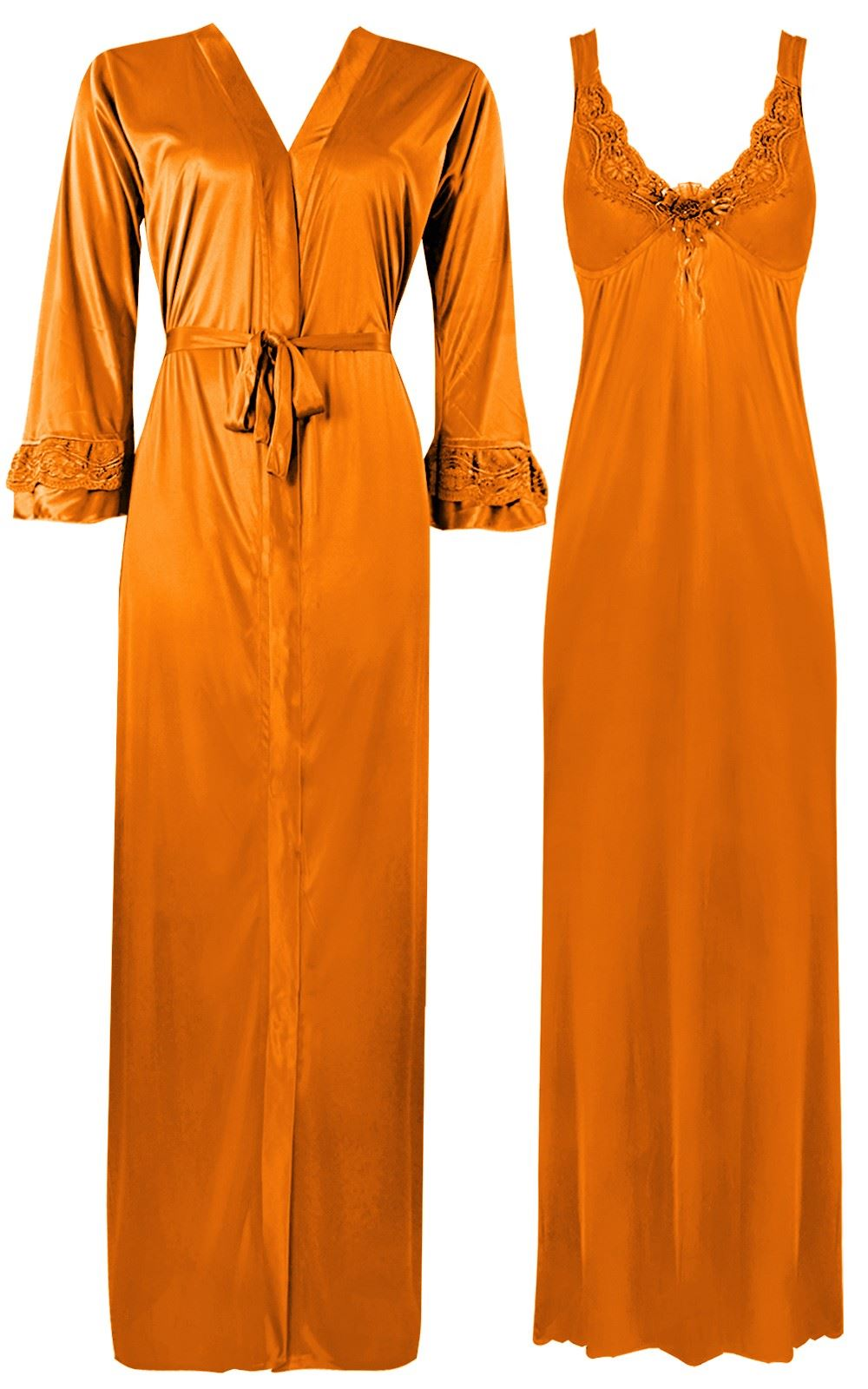Color: Orange 2 Piece Satin Nighty and Robe With Long Sleeve Dressing Gown Size: XL