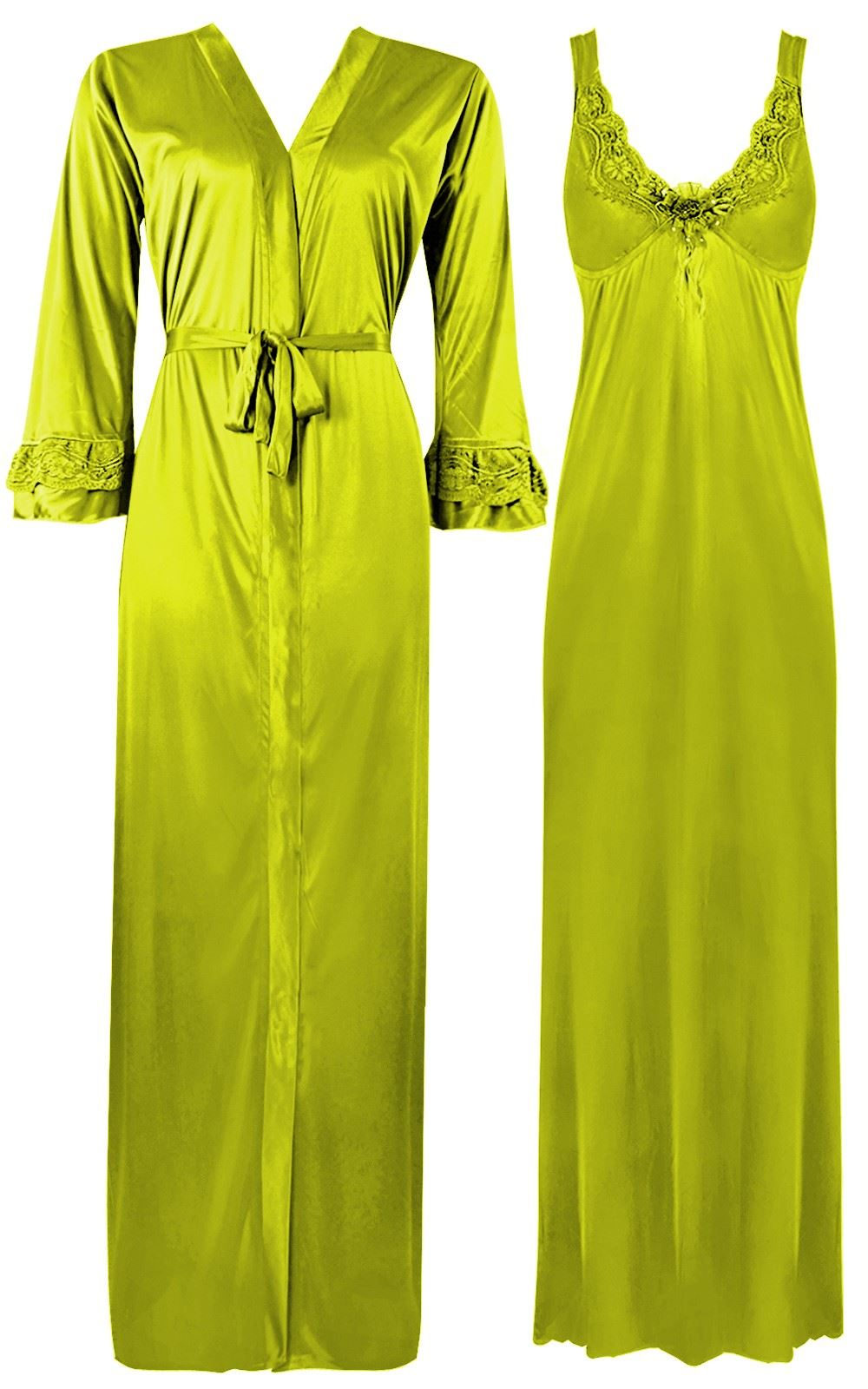 Color: Neon Green 2 Piece Satin Nighty and Robe With Long Sleeve Dressing Gown Size: XL