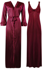 Načíst obrázek do prohlížeče Galerie, Color: Deep Red 2 Piece Satin Nighty and Robe With Long Sleeve Dressing Gown Size: XL