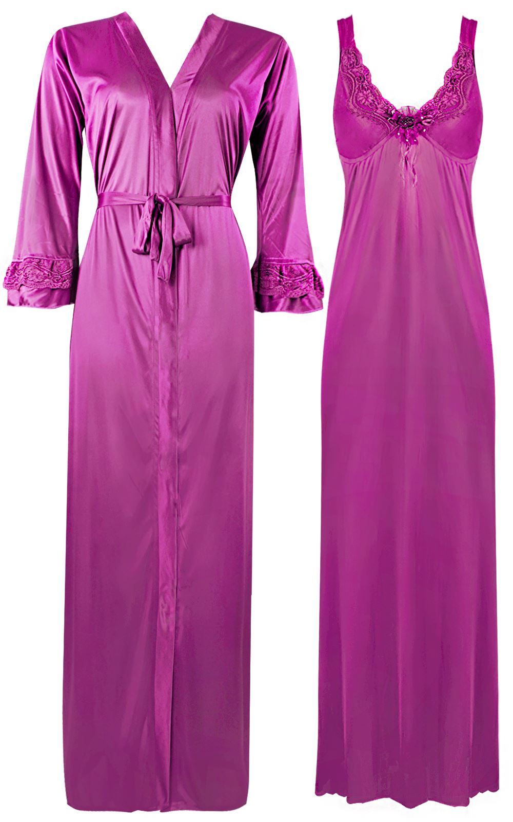 Color: Rose Pink 2 Piece Satin Nighty and Robe With Long Sleeve Dressing Gown Size: XL