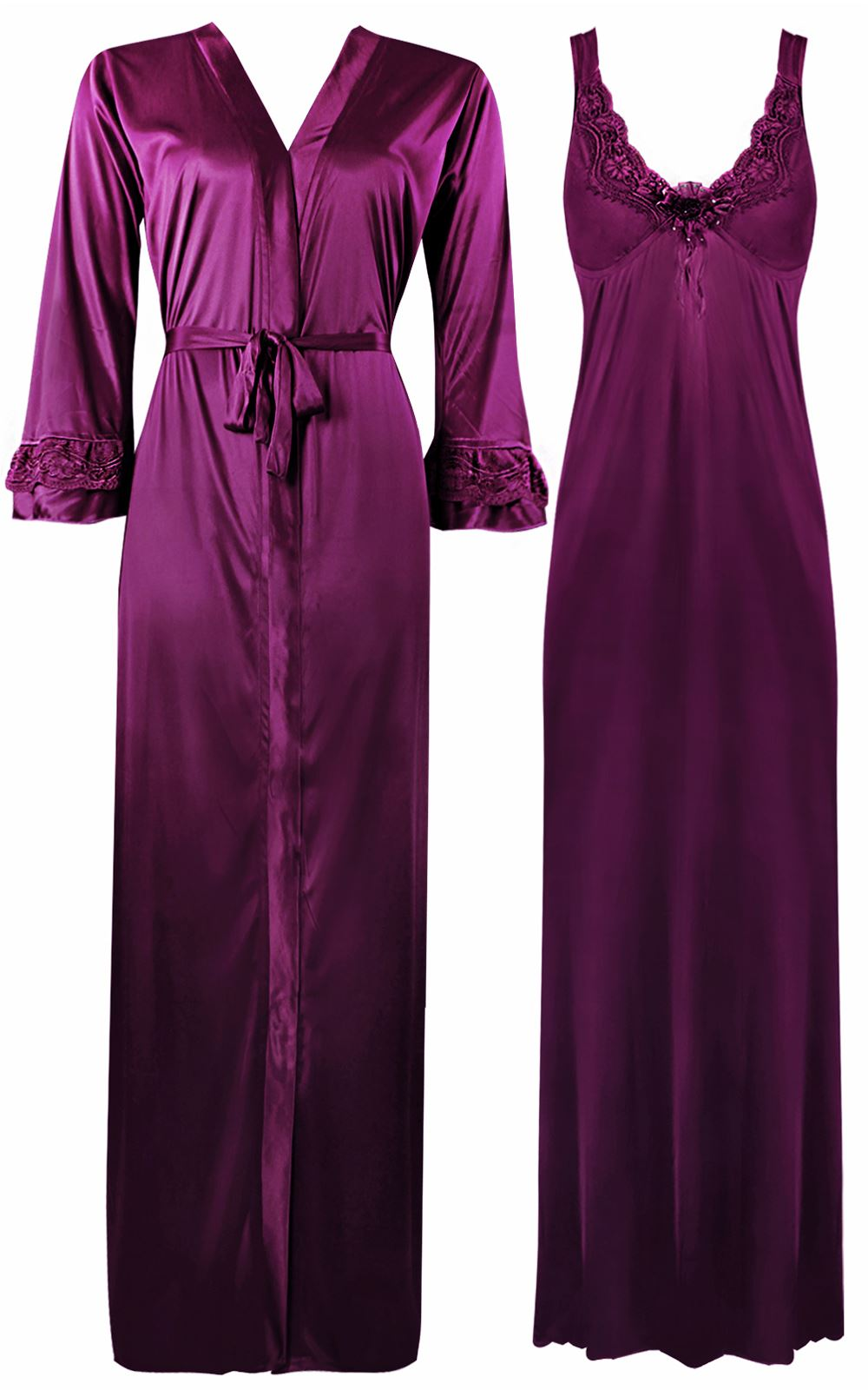 Color: Dark Wine 2 Piece Satin Nighty and Robe With Long Sleeve Dressing Gown Size: XL