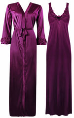 Načíst obrázek do prohlížeče Galerie, Color: Dark Wine 2 Piece Satin Nighty and Robe With Long Sleeve Dressing Gown Size: XL