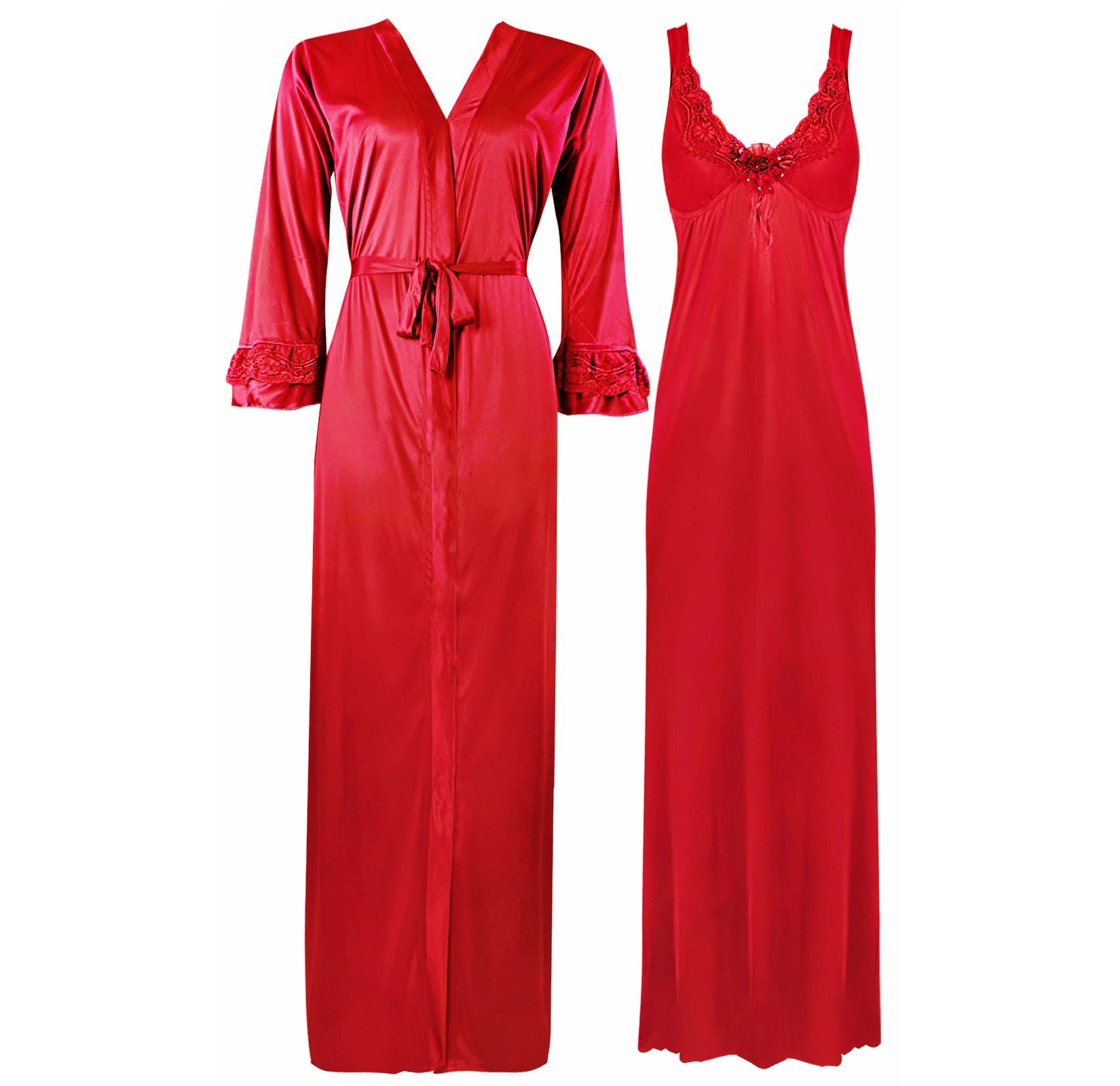 Color: Red 2 Piece Satin Nighty and Robe With Long Sleeve Dressing Gown Size: XL