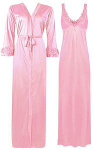 Color: Baby Pink 2 Piece Satin Nighty and Robe With Long Sleeve Dressing Gown Size: XL