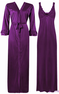 Color: Dark Purple 2 Piece Satin Nighty and Robe With Long Sleeve Dressing Gown Size: XL