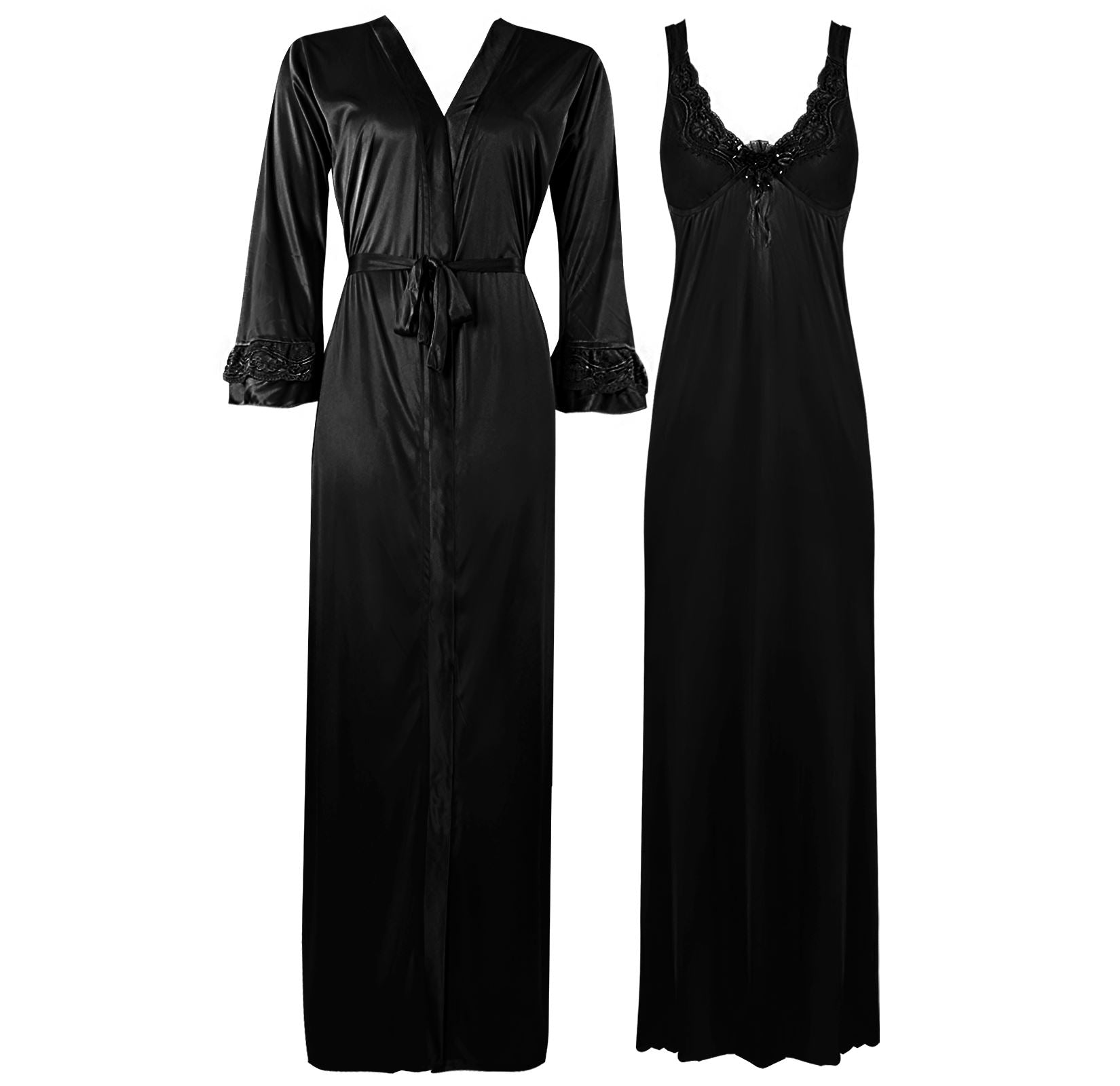 Color: Black 2 Piece Satin Nighty and Robe With Long Sleeve Dressing Gown Size: XL