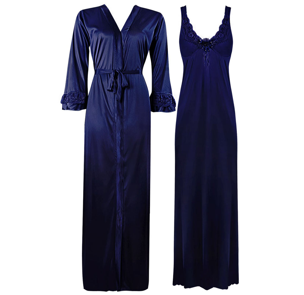 Color: Navy 2 Piece Satin Nighty and Robe With Long Sleeve Dressing Gown Size: XL