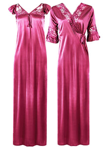 Women Satin Long Nightdress Lace Detailed [colour]- Hautie UK, #Nightfashion | #Underfashion