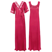 Load image into Gallery viewer, Satin Plus Size 2pc Set Robe & Nighty [colour]- Hautie UK, #Nightfashion | #Underfashion