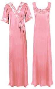 Satin Plus Size 2pc Set Robe & Nighty [colour]- Hautie UK, #Nightfashion | #Underfashion