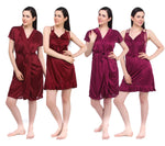 Load image into Gallery viewer, Color: Deep Red, Wine 2 Pcs Set Of Nightslip And Robe Size: One Size: Regular (8-12)