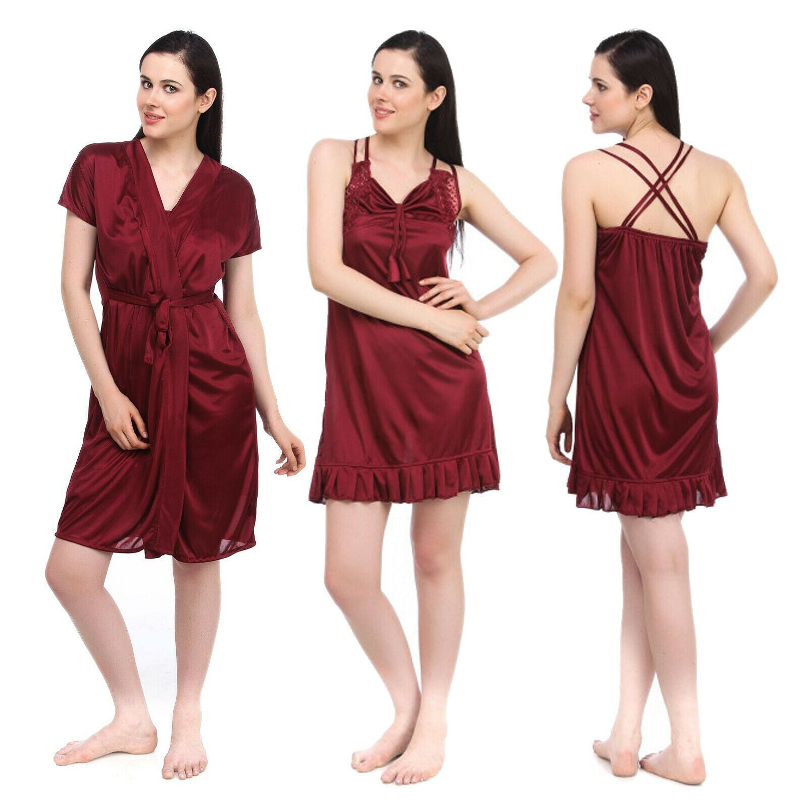 Color: Deep Red 2 Pcs Set Of Nightslip And Robe Size: One Size: Regular (8-12)
