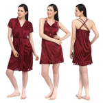Load image into Gallery viewer, Color: Deep Red 2 Pcs Set Of Nightslip And Robe Size: One Size: Regular (8-12)