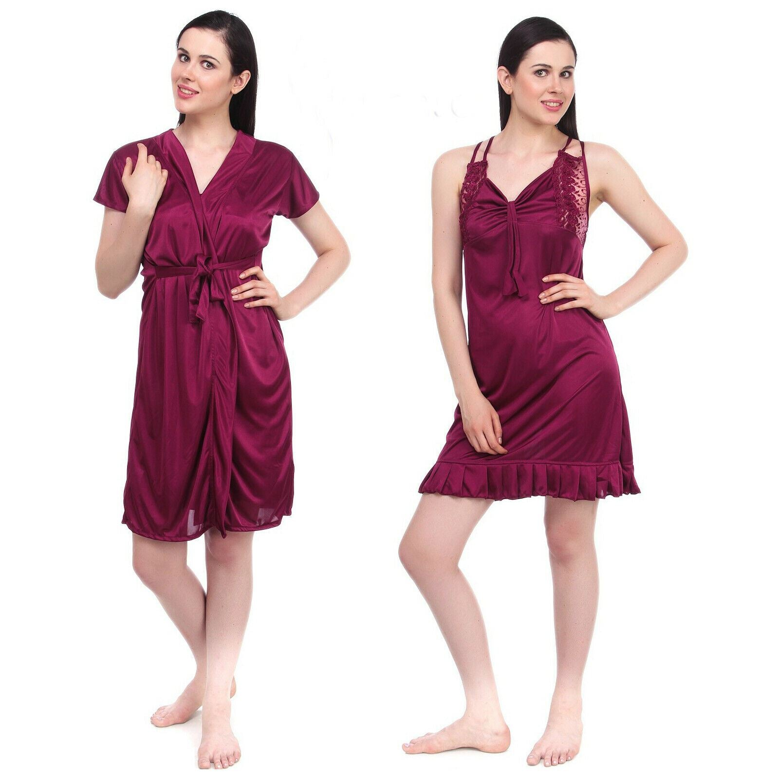 Color: Wine 2 Pcs Set Of Nightslip And Robe Size: One Size: Regular (8-12)