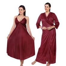 Load image into Gallery viewer, Satin Flared Long Nighty With Robe [colour]- Hautie UK, #Nightfashion | #Underfashion
