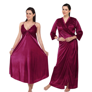 Satin Flared Long Nighty With Robe [colour]- Hautie UK, #Nightfashion | #Underfashion