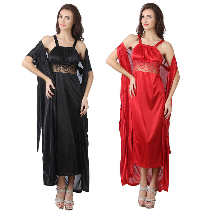 LADIES SEXY SATIN LONG CHEMISE NIGHT DRESS NIGHTDRESS NIGHTIE SLIP ROBE GOWN - Hautie UK
