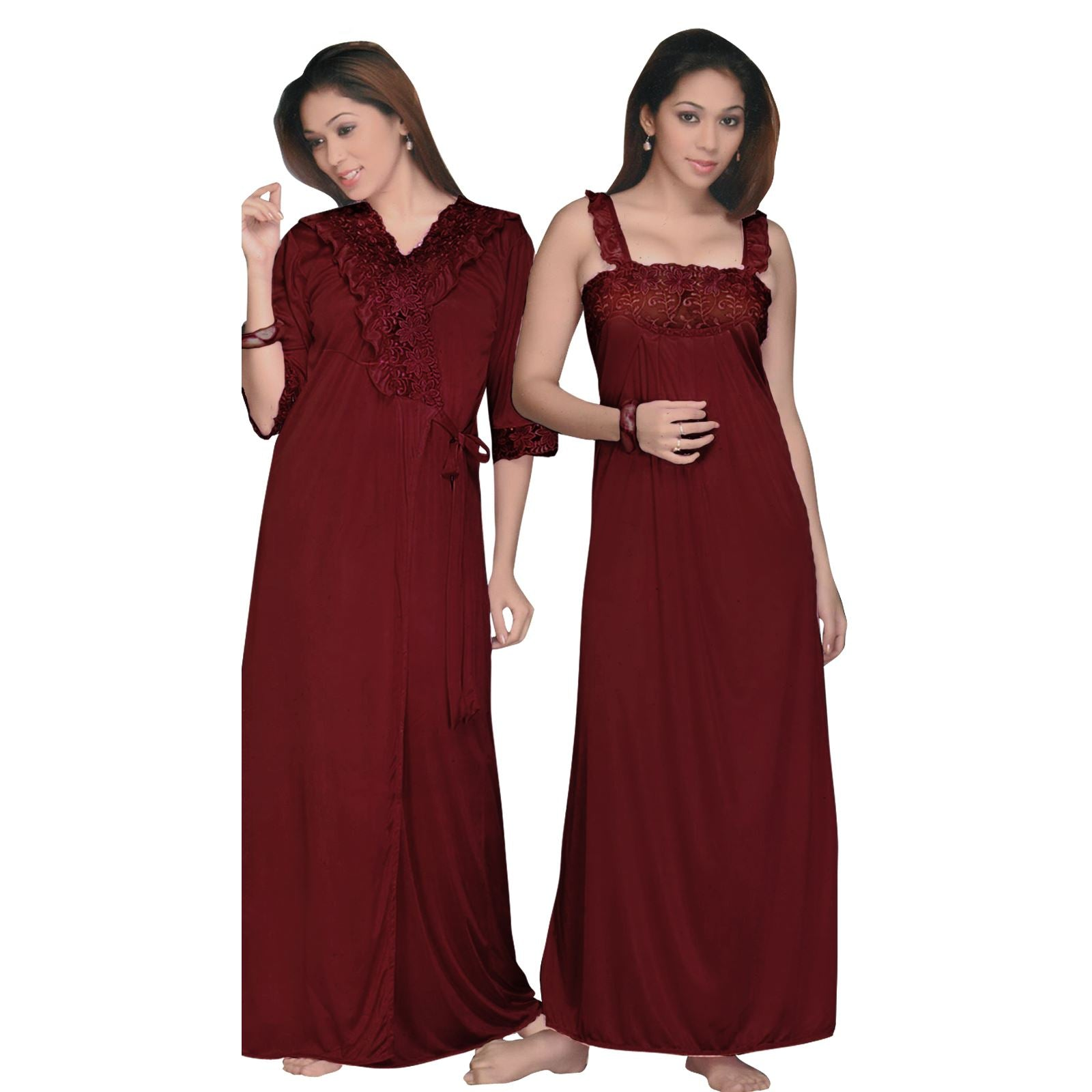 Satin 2 Pcs Long Nightwear Set Nighty With Robe [colour]- Hautie UK, #Nightfashion | #Underfashion