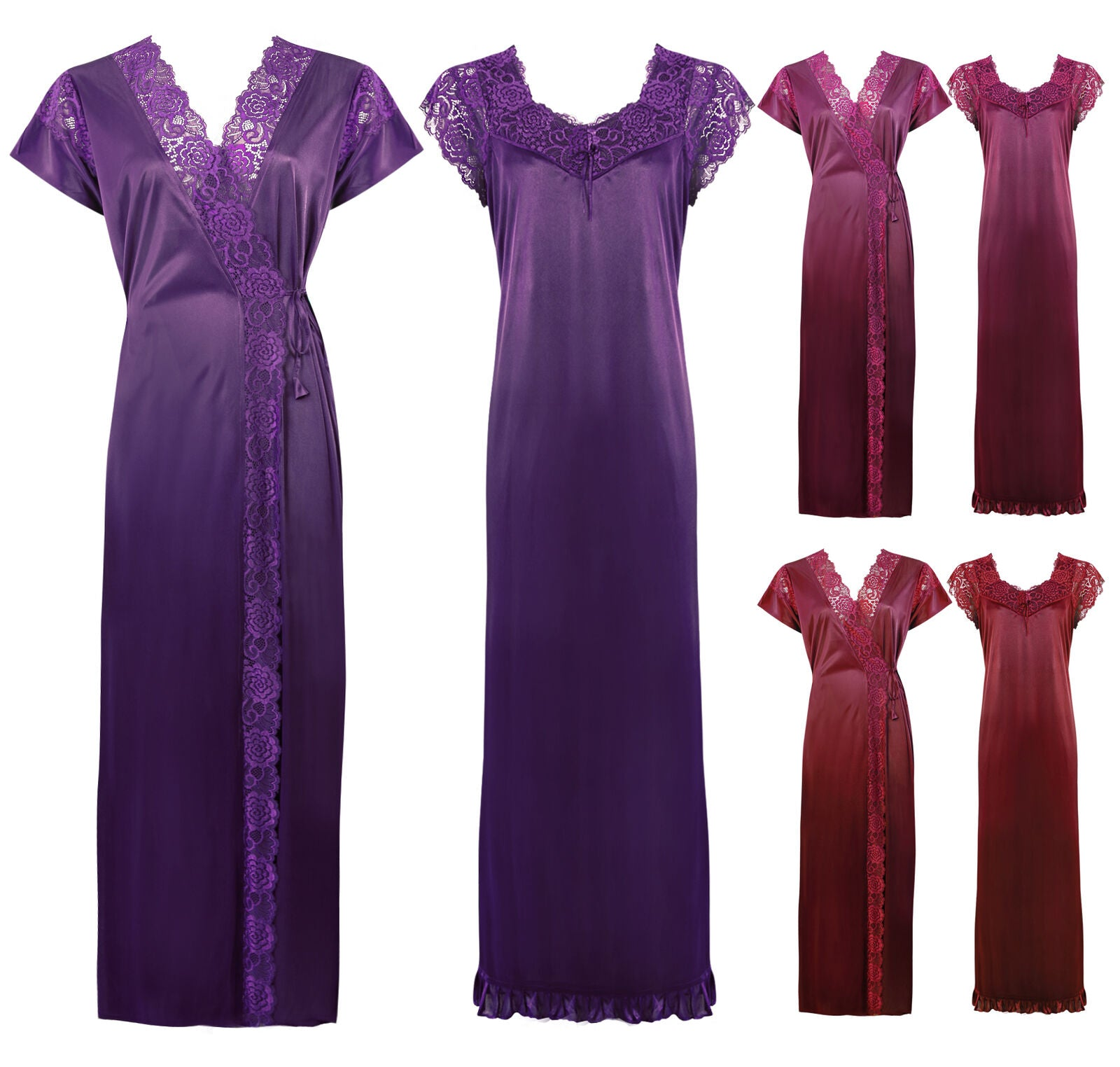 Color: Dark Wine, Deep Red, Navy, Purple, Red, Royal Blue, Ruby, Wine 2 Pc Satin Lace Nighty and Robe Size: One Size: Regular (8-14)