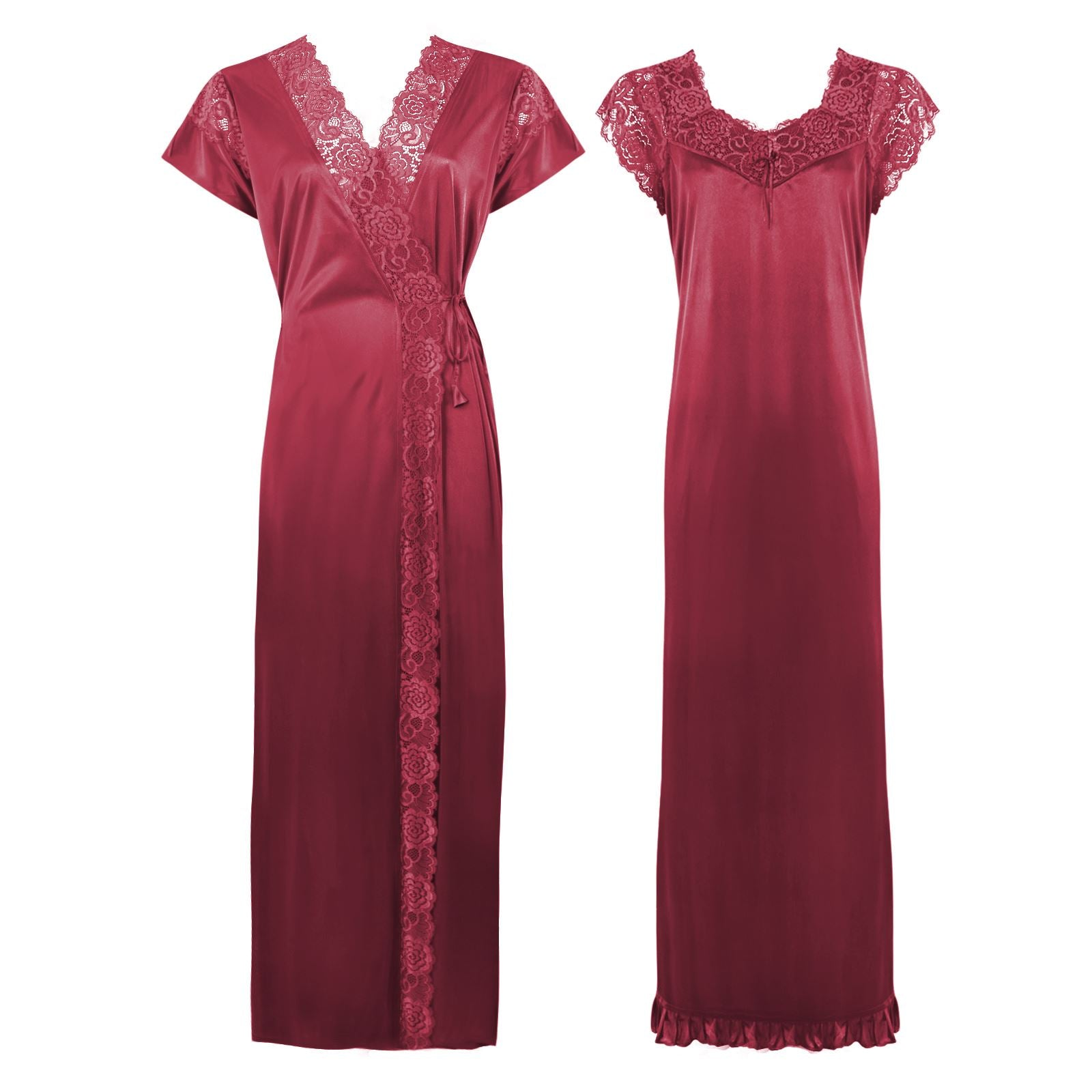 Color: Wine 2 Pc Satin Lace Nighty and Robe Size: One Size: Regular (8-14)
