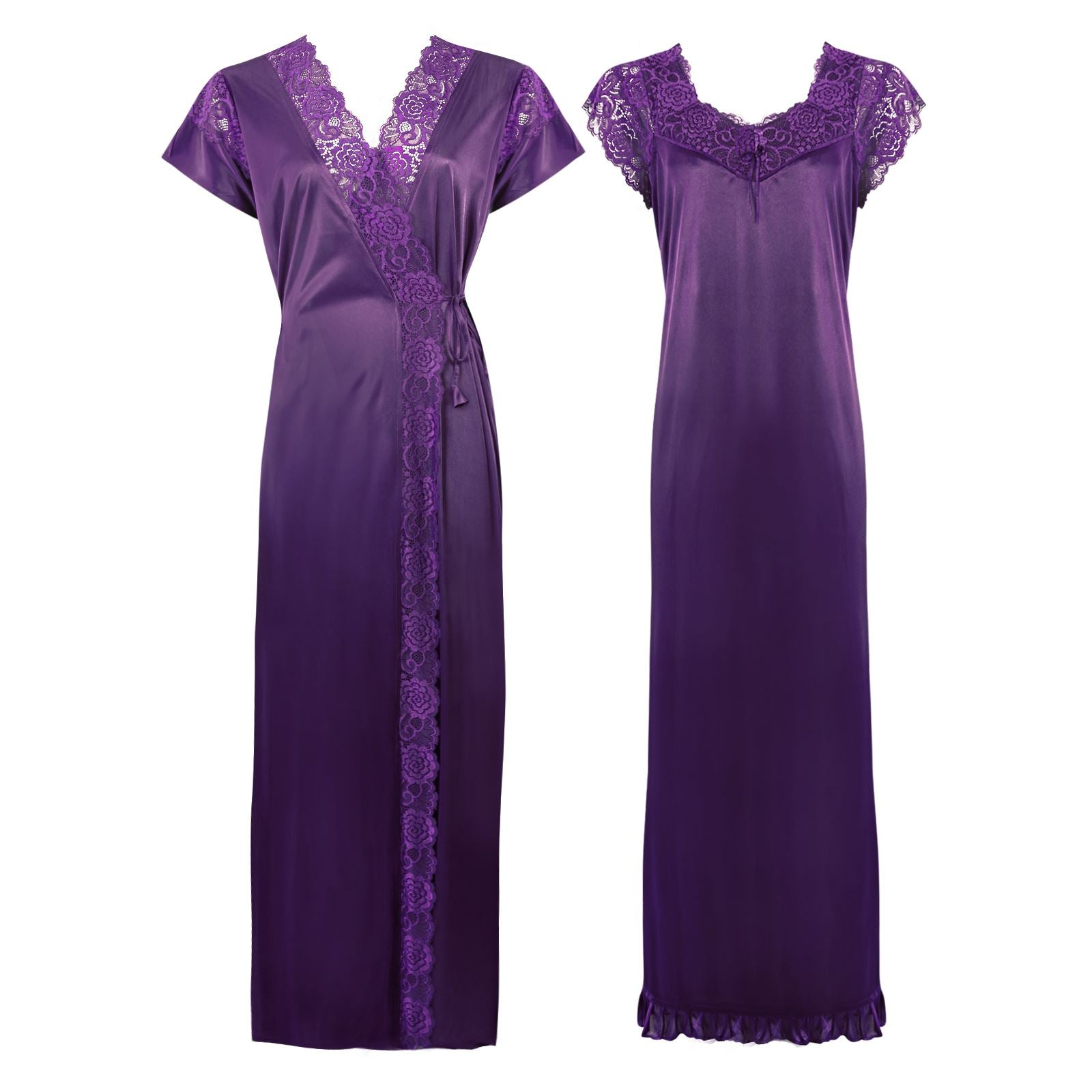 Color: Purple 2 Pc Satin Lace Nighty and Robe Size: One Size: Regular (8-14)