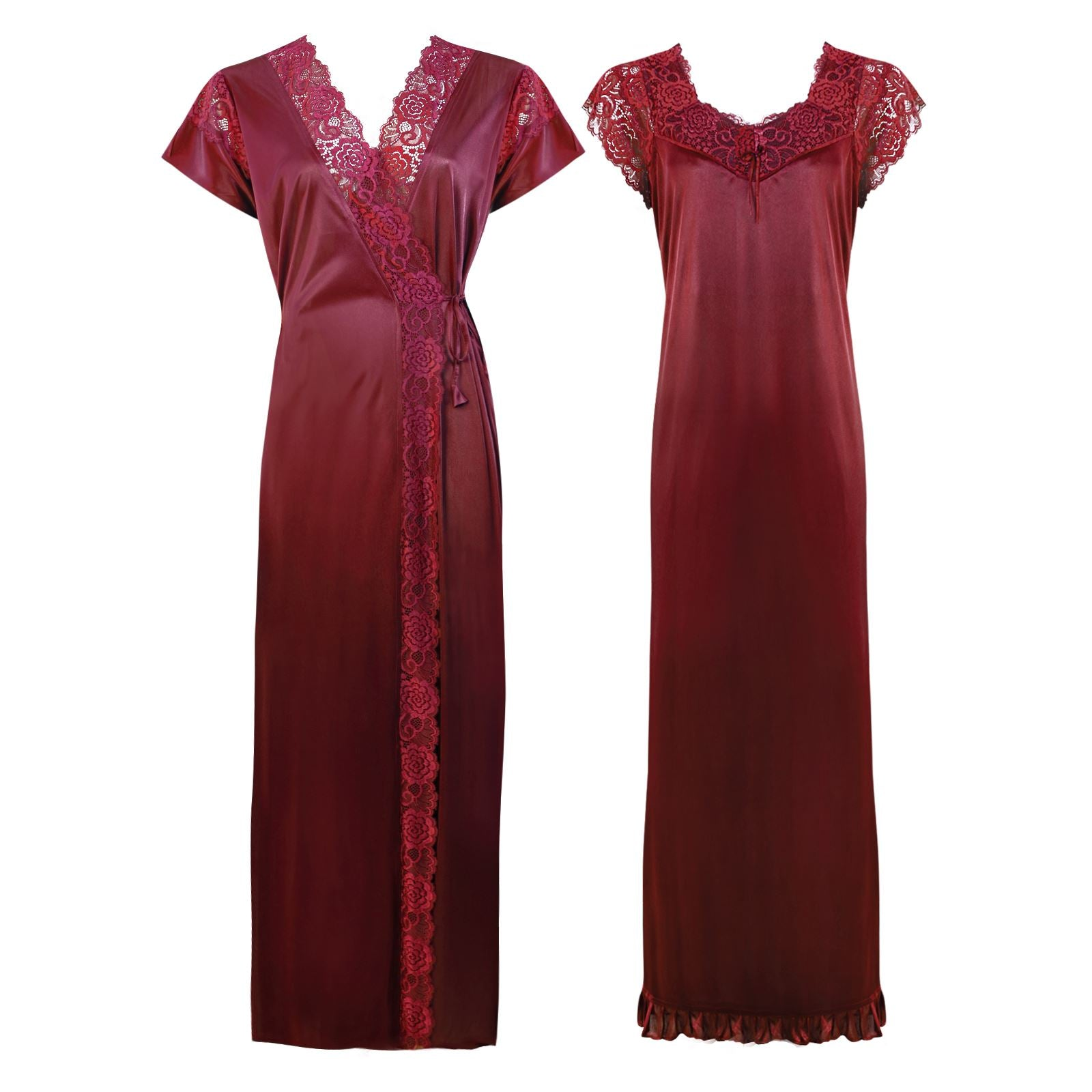 Color: Deep Red 2 Pc Satin Lace Nighty and Robe Size: One Size: Regular (8-14)