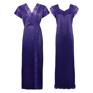 Color: Royal Blue 2 Pc Satin Lace Nighty and Robe Size: One Size: Regular (8-14)