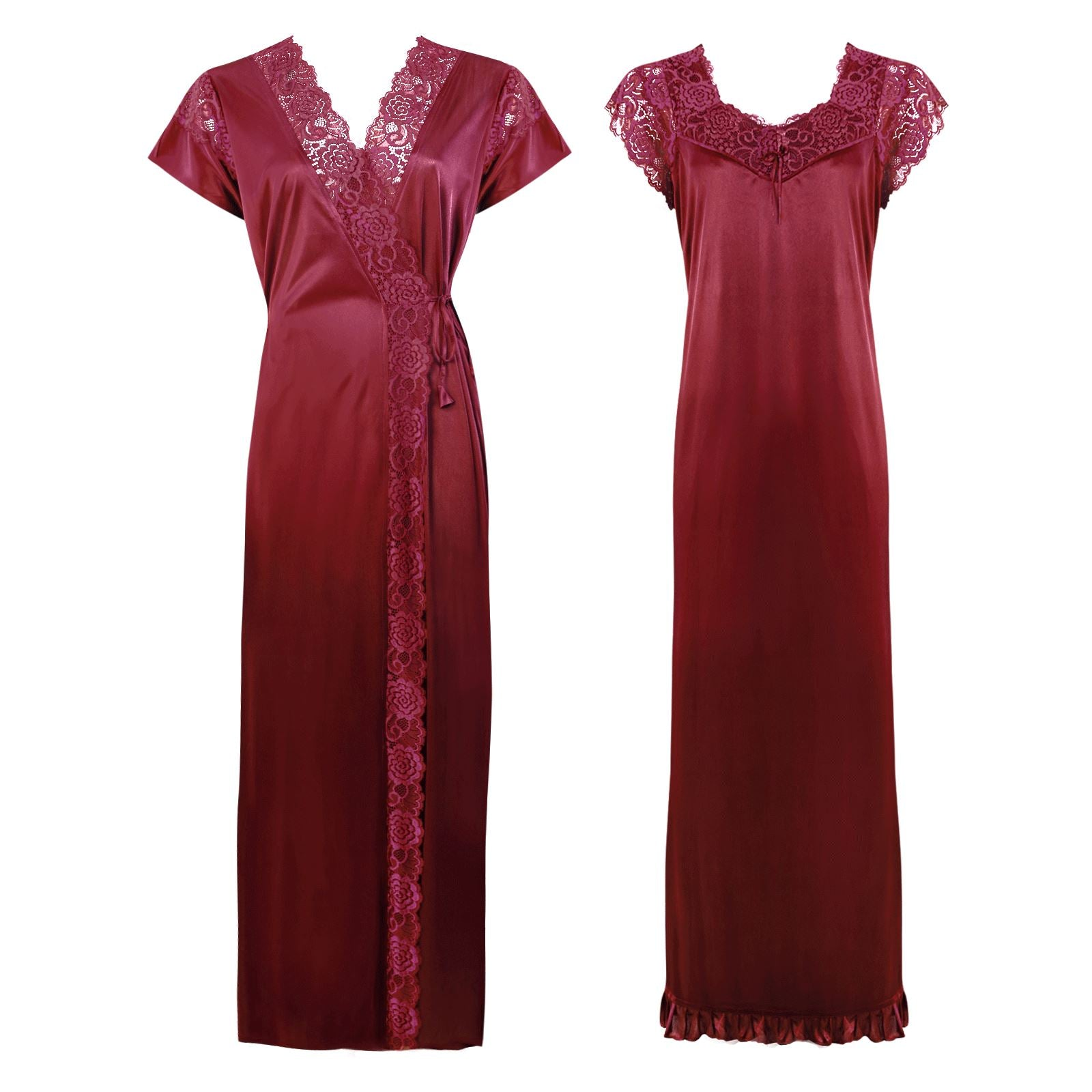 Color: Ruby 2 Pc Satin Lace Nighty and Robe Size: One Size: Regular (8-14)