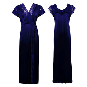 Color: Navy 2 Pc Satin Lace Nighty and Robe Size: One Size: Regular (8-14)