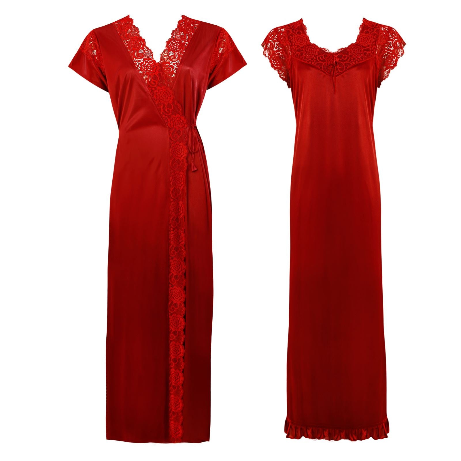 Color: Red 2 Pc Satin Lace Nighty and Robe Size: One Size: Regular (8-14)