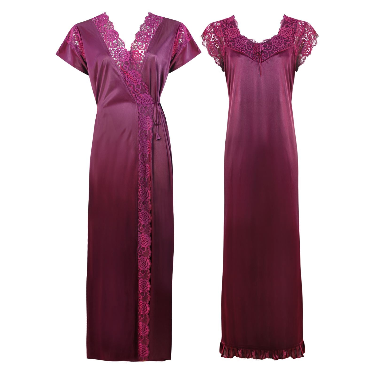 Color: Dark Wine 2 Pc Satin Lace Nighty and Robe Size: One Size: Regular (8-14)