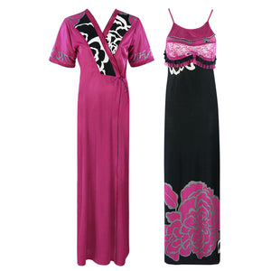 Ladies 2 Pcs Floral Nighty With Robe - Hautie Nightfashion