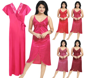 Color: Cerise, Deep Red, Red, Ruby, Wine 2 Piece Satin Short Nighty And Robe Size: One Size: Regular (8-14)
