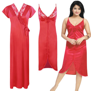 Color: Red 2 Piece Satin Short Nighty And Robe Size: One Size: Regular (8-14)