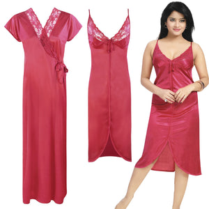 Color: Ruby 2 Piece Satin Short Nighty And Robe Size: One Size: Regular (8-14)