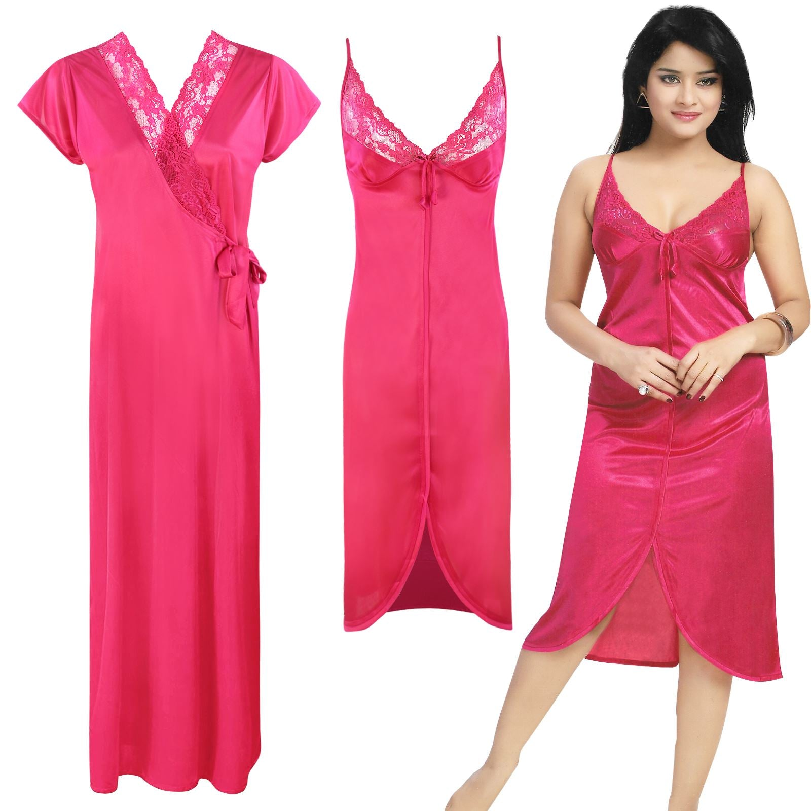 Color: Cerise 2 Piece Satin Short Nighty And Robe Size: One Size: Regular (8-14)