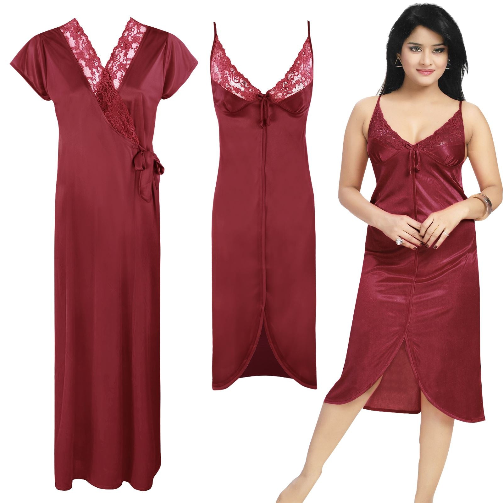 Color: Deep Red 2 Piece Satin Short Nighty And Robe Size: One Size: Regular (8-14)