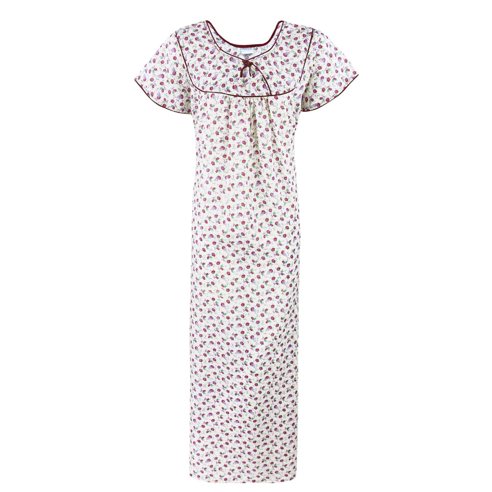 Cotton Printed Scoop Neck Long Nighty [colour]- Hautie UK, #Nightfashion | #Underfashion
