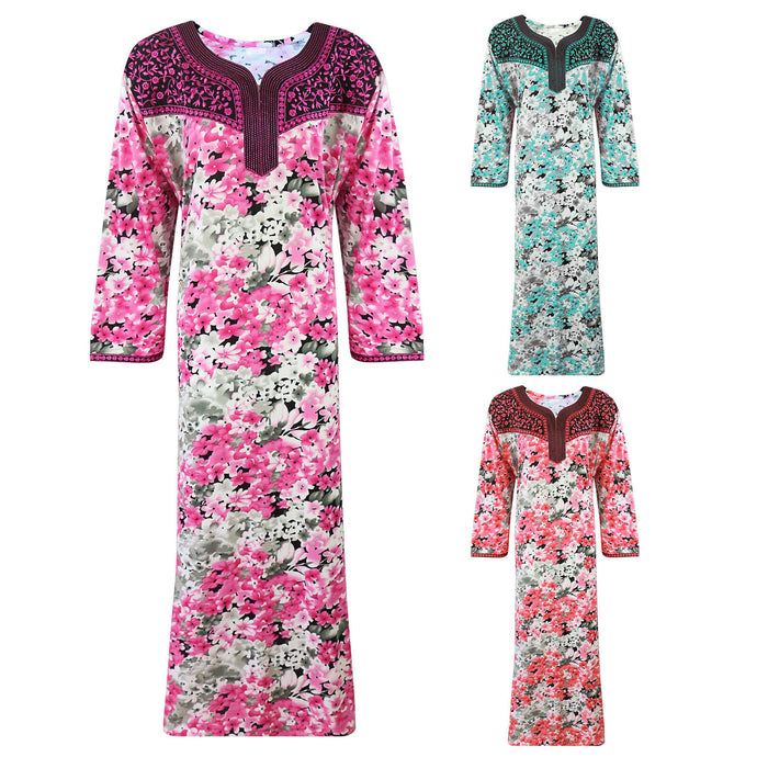 Cotton Rich Embroidery Full Sleeve Long Nighty [colour]- Hautie UK, #Nightfashion | #Underfashion