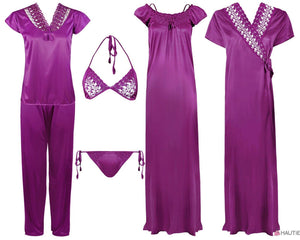 Ladies 6 Pcs Nightwear Set [colour]- Hautie UK, #Nightfashion | #Underfashion