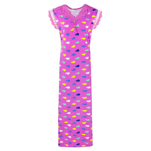 Women Heart Print Stretchable Cotton Nightie [colour]- Hautie UK, #Nightfashion | #Underfashion