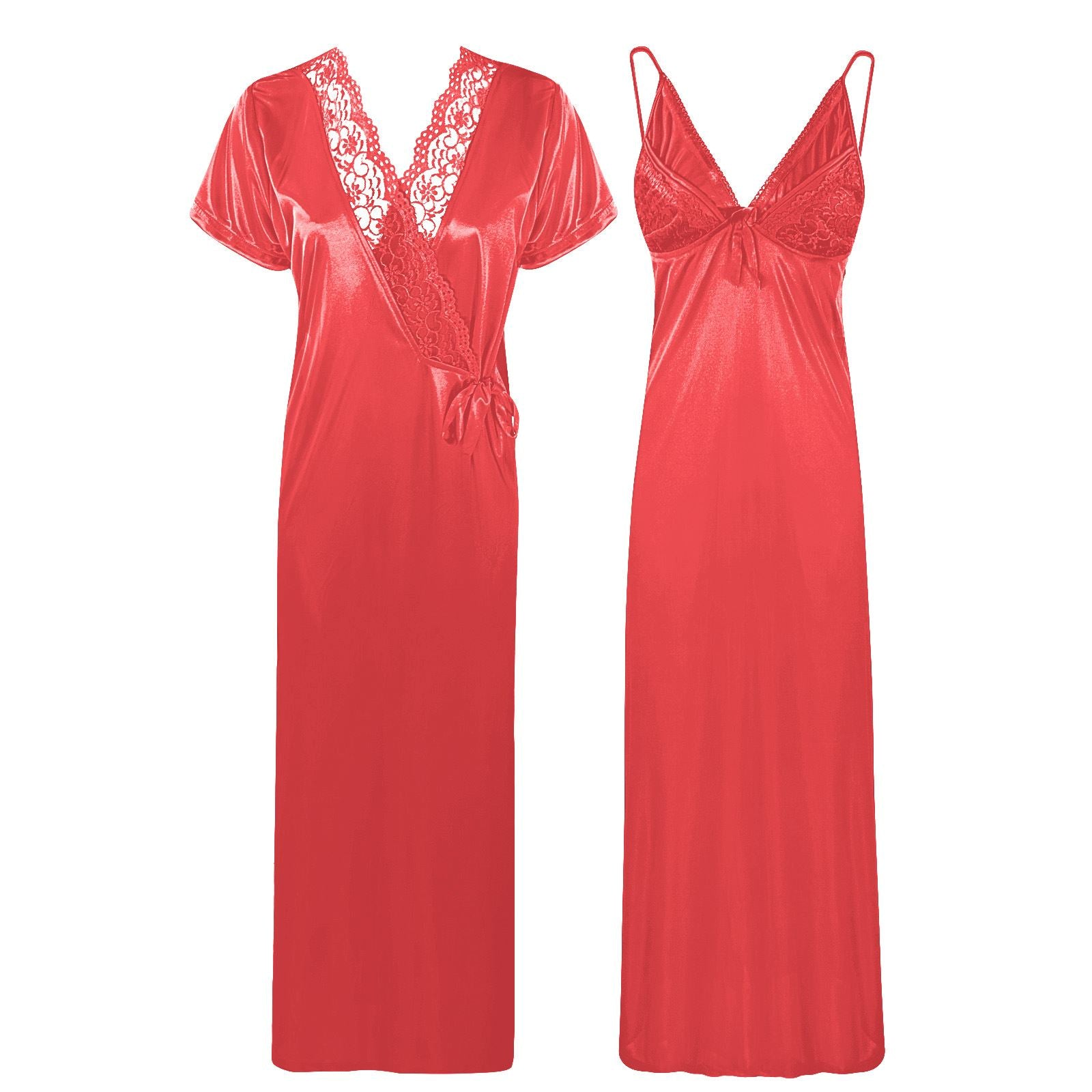 Satin Strappy Long Nighty With Robe [colour]- Hautie UK, #Nightfashion | #Underfashion
