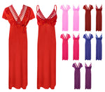 Load image into Gallery viewer, 2 Pc Satin Long Nightdress with Robe [colour]- Hautie UK, #Nightfashion | #Underfashion