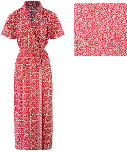 Color: Red 100% Cotton Bathrobe Wrap Gown Size: One Size: Regular (8-14)