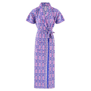 Color: Blue Square, Pink Printed, Pink Sqaure, Purple Square, Red, Red Square 100% Cotton Bathrobe Wrap Gown Size: L (8-14), One Size: Regular (8-14)