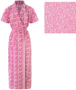 Load image into Gallery viewer, Color: Blue Square, Pink Printed, Pink Sqaure, Purple Square, Red, Red Square 100% Cotton Bathrobe Wrap Gown Size: L (8-14), One Size: Regular (8-14)