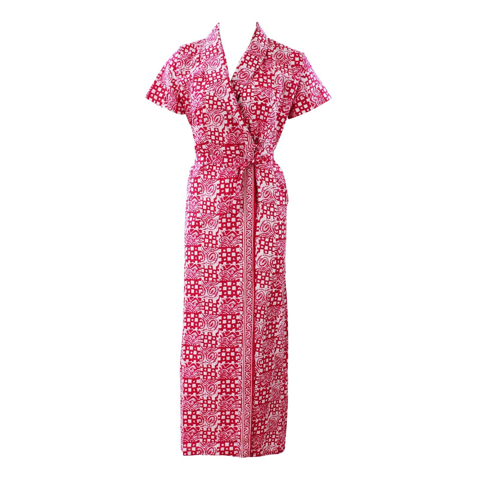 Color: Pink Printed 100% Cotton Bathrobe Wrap Gown Size: L (8-14)