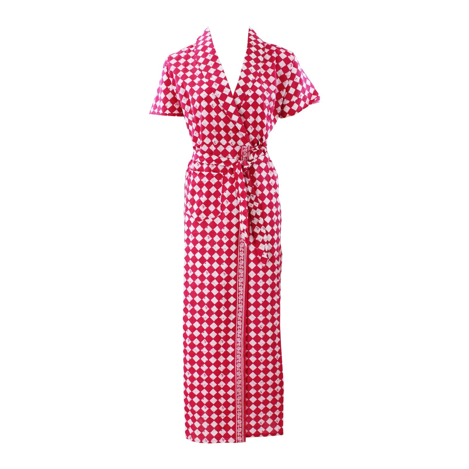 Color: Pink Sqaure 100% Cotton Bathrobe Wrap Gown Size: L (8-14)