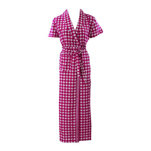 Color: Purple Square 100% Cotton Bathrobe Wrap Gown Size: L (8-14)