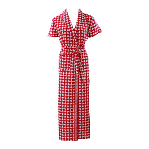 Color: Red Square 100% Cotton Bathrobe Wrap Gown Size: L (8-14)